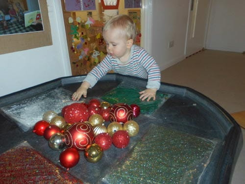 Derbyshire nursery children enhance sensory skills using baubles